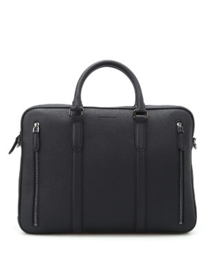 Ermenegildo Zegna: laptop bags & briefcases - Dark blue leather briefcase
