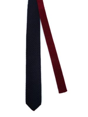 ERMENEGILDO ZEGNA: cravatte e papillion online - Cravatta double blu e bordeaux in seta
