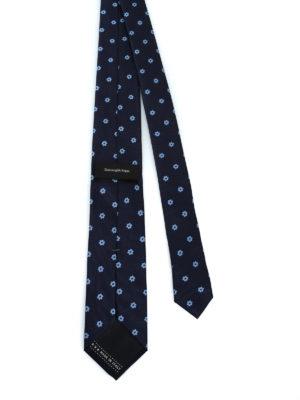 ERMENEGILDO ZEGNA: cravatte e papillion online - Cravatta in seta jacquard blu a fiori