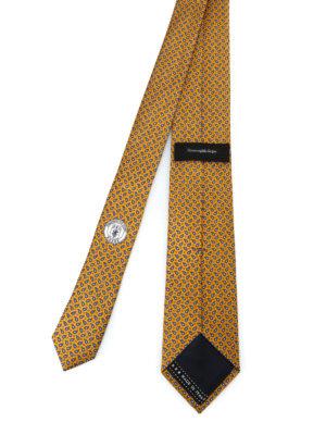 ERMENEGILDO ZEGNA: cravatte e papillion online - Cravatta giallo oro in seta a motivo Paisley