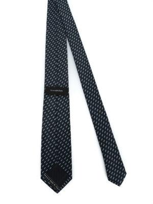 ERMENEGILDO ZEGNA: cravatte e papillion online - Cravatta in seta nera a motivo geometrico