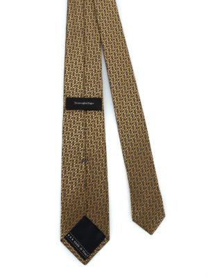 ERMENEGILDO ZEGNA: cravatte e papillion online - Cravatta in seta lucida jacquard giallo oro