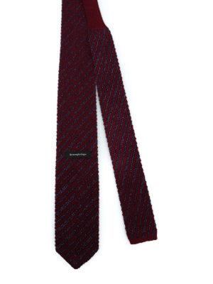 ERMENEGILDO ZEGNA: cravatte e papillion online - Cravatta bordeaux in lana e seta a righe