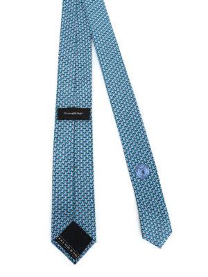 ERMENEGILDO ZEGNA: cravatte e papillion online - Cravatta con gufo in seta azzurra e verde