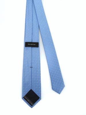 ERMENEGILDO ZEGNA: cravatte e papillion online - Cravatta in seta jacquard azzurra con pois