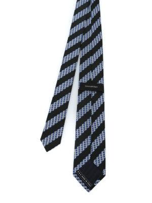 ERMENEGILDO ZEGNA: cravatte e papillion online - Cravatta in seta a righe nere e micro motivo