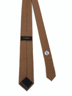 ERMENEGILDO ZEGNA: cravatte e papillion online - Cravatta in seta ocra con pois a contrasto
