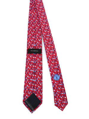 ERMENEGILDO ZEGNA: cravatte e papillion online - Cravatta in seta rossa con stampa alberi