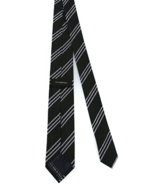 ERMENEGILDO ZEGNA: cravatte e papillion online - Cravatta in seta nera testurizzata a righe