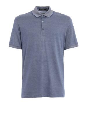 Ermenegildo Zegna: polo shirts - Blue silk blend pique polo shirt