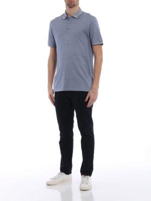 Ermenegildo Zegna: polo shirts online - Blue silk blend pique polo shirt
