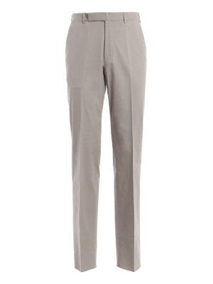 ERMENEGILDO ZEGNA  Pantaloni sartoriali - Pantaloni sartoriali in cotone  color tortora d526b271582