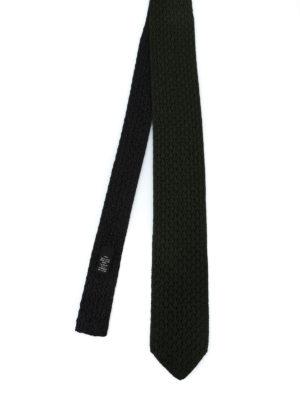 ERMENEGILDO ZEGNA: cravatte e papillion - Cravatta double verde e nera in seta