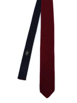 ERMENEGILDO ZEGNA: cravatte e papillion - Cravatta double blu e bordeaux in seta
