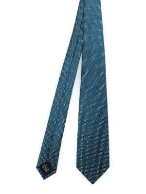 ERMENEGILDO ZEGNA: cravatte e papillion - Cravatta in seta blu petrolio fantasia