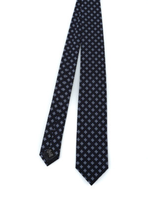 ERMENEGILDO ZEGNA: cravatte e papillion - Cravatta in rigatino di seta blu e fiori