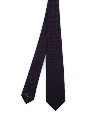 ERMENEGILDO ZEGNA: cravatte e papillion - Cravatta in seta jacquard blu a pois rossi