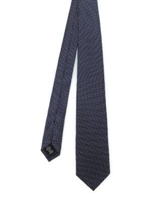 ERMENEGILDO ZEGNA: cravatte e papillion - Cravatta in seta blu scuro fantasia