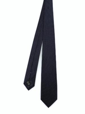 ERMENEGILDO ZEGNA: cravatte e papillion - Cravatta in seta lucida jacquard blu scuro