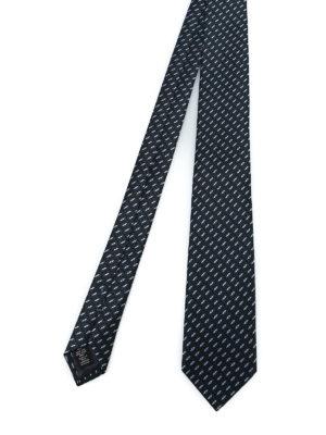 ERMENEGILDO ZEGNA: cravatte e papillion - Cravatta in seta nera a motivo geometrico
