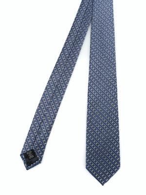 ERMENEGILDO ZEGNA: cravatte e papillion - Cravatta in seta blu a motivo geometrico