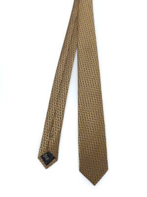 ERMENEGILDO ZEGNA: cravatte e papillion - Cravatta in seta lucida jacquard giallo oro