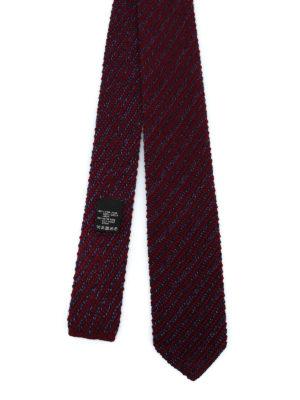 ERMENEGILDO ZEGNA: cravatte e papillion - Cravatta bordeaux in lana e seta a righe