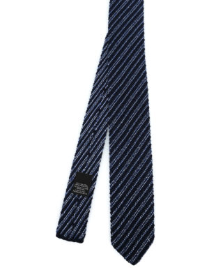 ERMENEGILDO ZEGNA: cravatte e papillion - Cravatta blu in lana e seta a righe