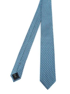 ERMENEGILDO ZEGNA: cravatte e papillion - Cravatta con gufo in seta azzurra e verde