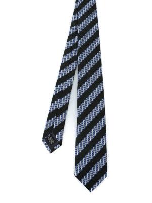 ERMENEGILDO ZEGNA: cravatte e papillion - Cravatta in seta a righe nere e micro motivo