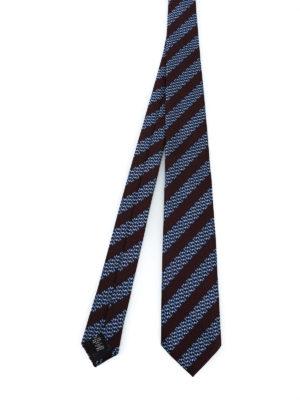 ERMENEGILDO ZEGNA: cravatte e papillion - Cravatta in seta a righe e micro motivo