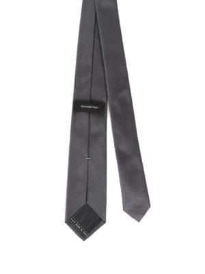 Ermenegildo Zegna: ties & bow ties online - Dark grey silk satin tie