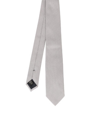 Ermenegildo Zegna: ties & bow ties - Pearly grey silk jacquard tie