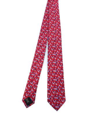 ERMENEGILDO ZEGNA: cravatte e papillion - Cravatta in seta rossa con stampa alberi