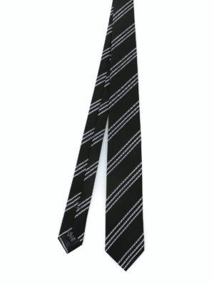 ERMENEGILDO ZEGNA: cravatte e papillion - Cravatta in seta nera testurizzata a righe