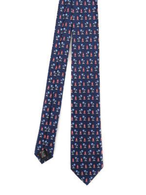 ERMENEGILDO ZEGNA  cravatte e papillion - Cravatta in seta blu a motivo  estivo 73629f165ec