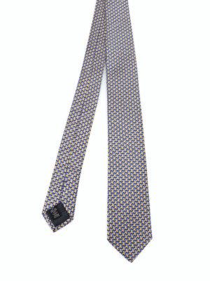 ERMENEGILDO ZEGNA: cravatte e papillion - Cravatta con gufo in seta gialla e blu