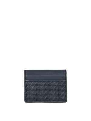 Ermenegildo Zegna: wallets & purses - Pelle Tessuta™ blue card holder