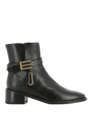 Etro: ankle boots - E buckled leather ankle boots