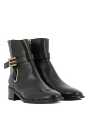 Etro: ankle boots online - E buckled leather ankle boots