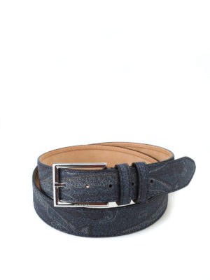 ETRO: cinture - Cintura in tessuto paisley blu scuro