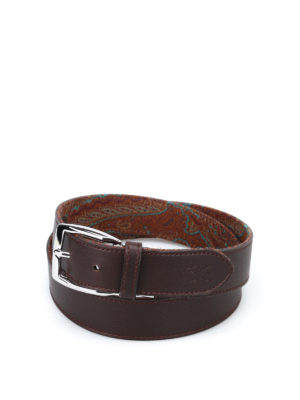 Etro: belts - Leather and Paisley reversible belt