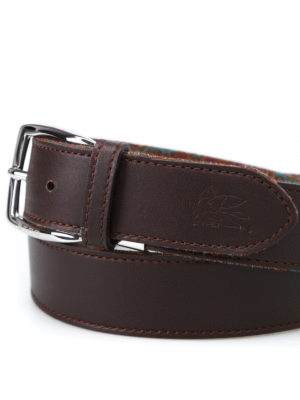 Etro: belts online - Leather and Paisley reversible belt