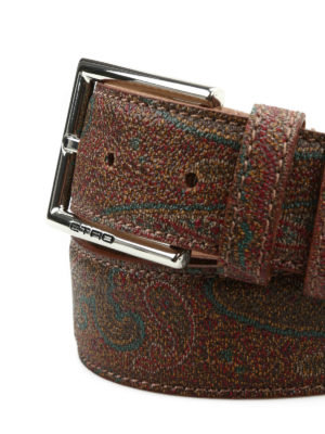 Etro: belts online - Paisley print leather belt