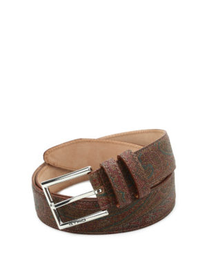 Etro: belts - Paisley print leather belt