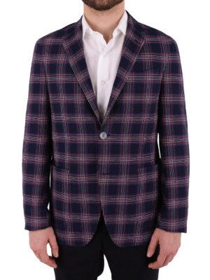 Etro: blazers online - Tartan cotton unstructured blazer