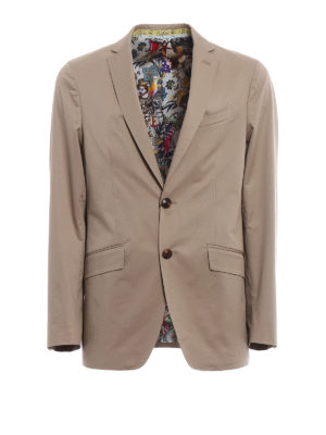 Etro: blazers - Patterned lining cotton blazer