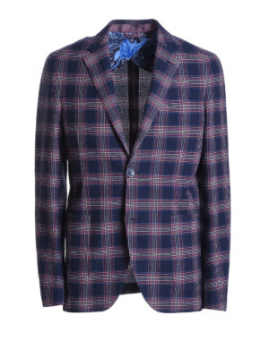 Etro: blazers - Tartan cotton unstructured blazer