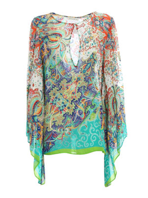 Etro: blouses - Bell sleeved Paisley crepe blouse