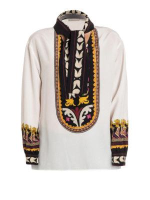 Etro: blouses - Ethnic print silk blouse